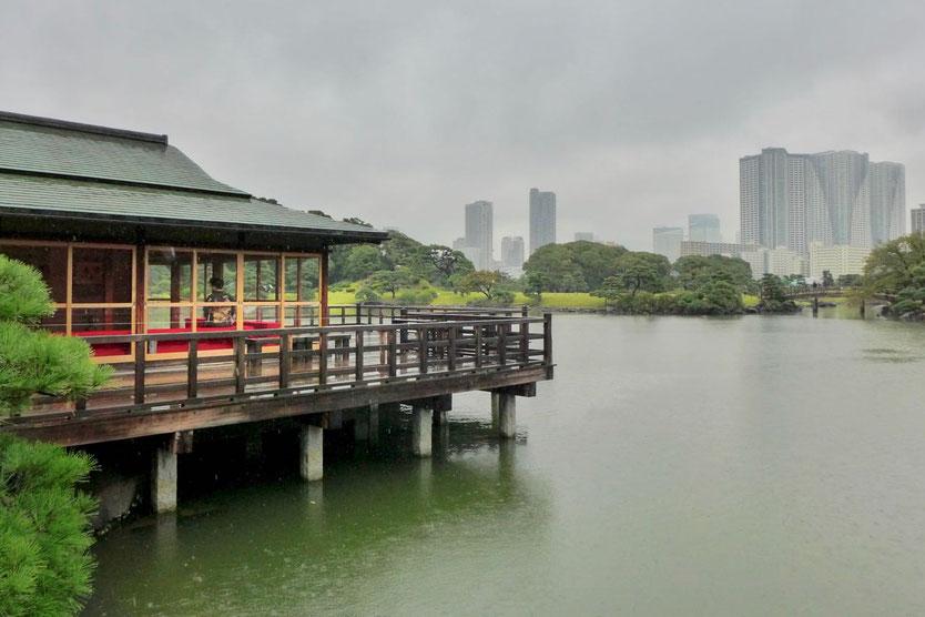 Tokio japanische Hamarikyu Gardens Teehaus