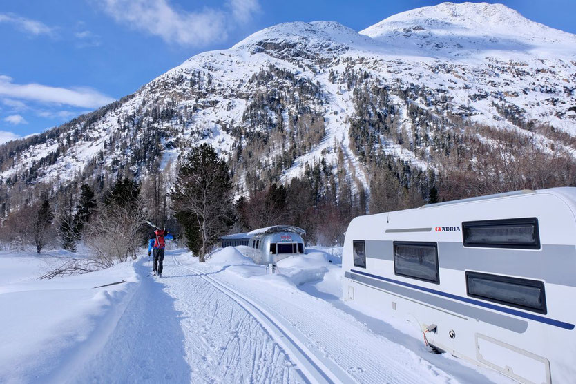 Winter Campingplatz Morteratsch Engadin St. Moritz