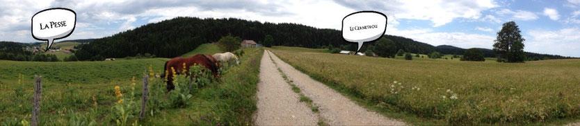 Les gîtes le Cernetrou et vue sur le village de la Pesse
