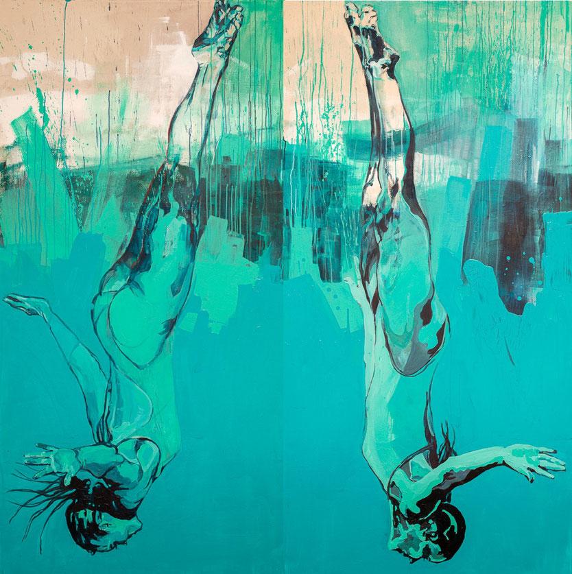Der Sprung ins Türkis, 2 Meter mal 1 Meter je Springerin, Acryl und Kreide auf unbehandelter Leinwand, 2020