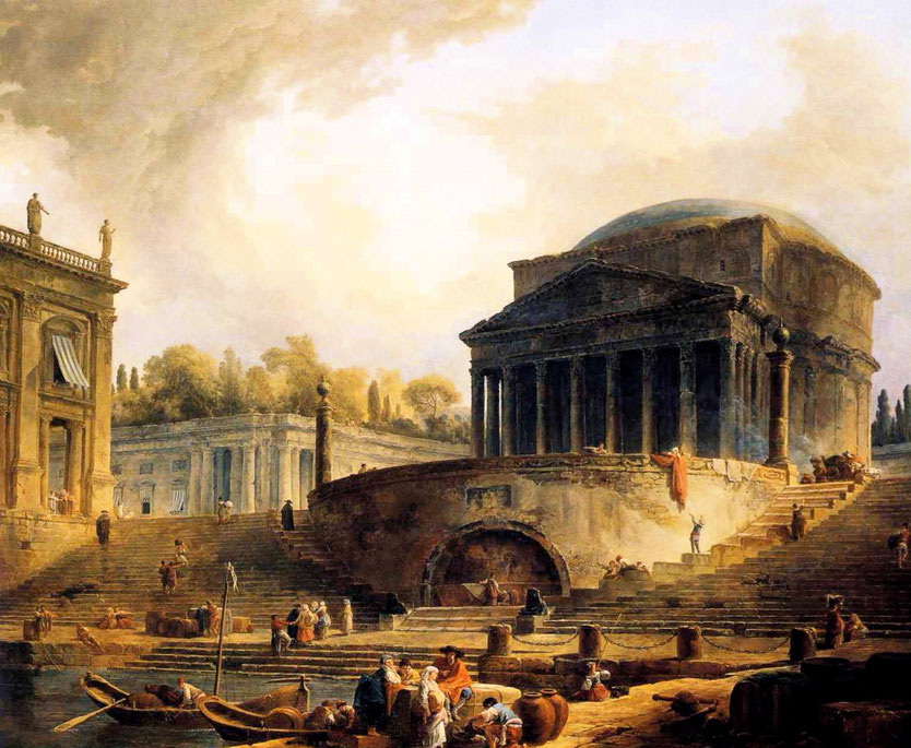 """Hubert Robert, """"Vista del porto di Ripetta, a Roma"""" (1767)"""