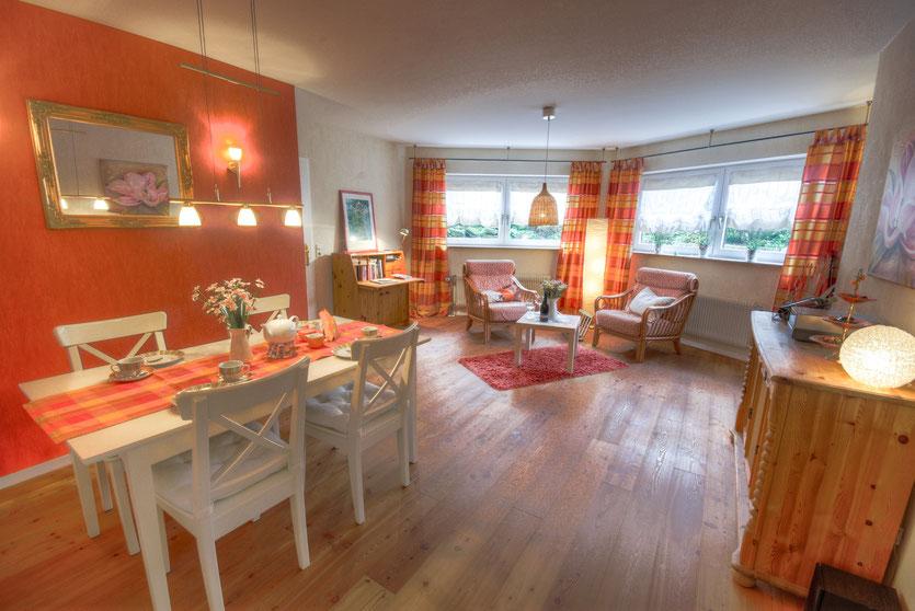 Das lichtdurchflutetes Wohnzimmer der Ferienwohnung Schallstadt
