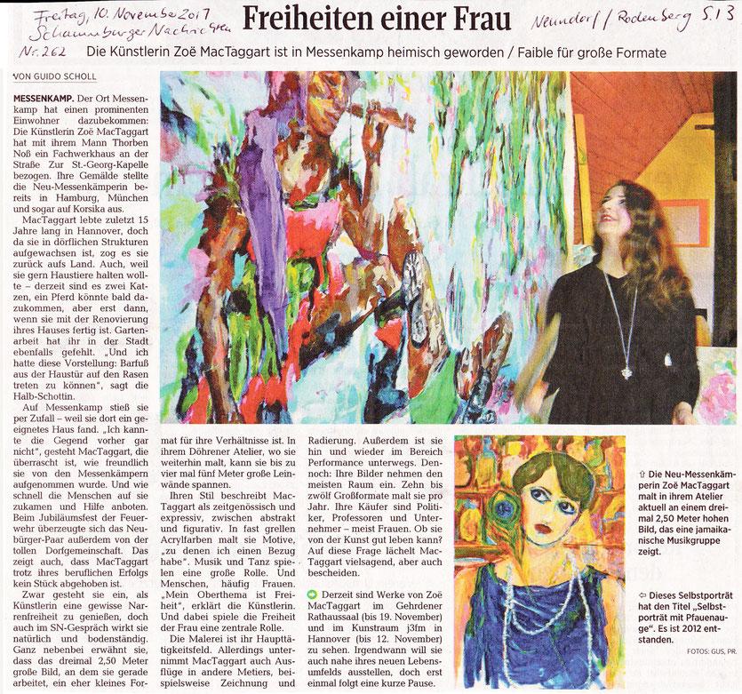 Artikel in den Schaumburger Nachrichten: Freiheiten einer Frau. Die Künstlerin Zoë MacTaggart ist in Messenkamp heimisch geworden / Faible für große Formate