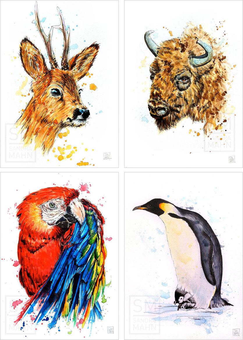 Rehbock (verkauft) - Büffel - Papagei (verkauft) - Pinguin (verkauft) | roe buck (sold) - buffalo - macaw (sold) - penguin (sold)