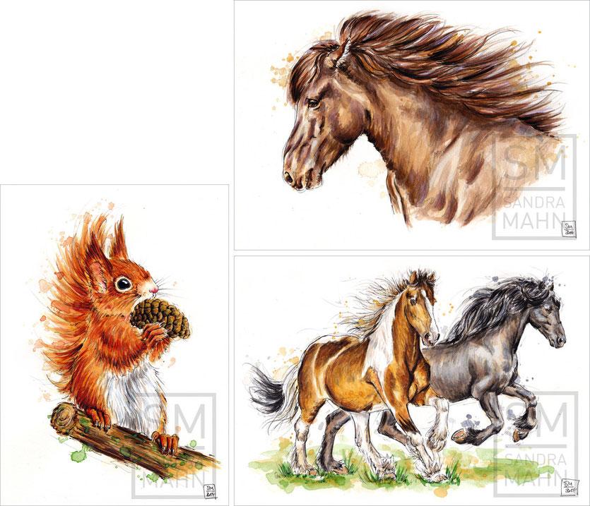 Eichhörnchen (verkauft) - Pferd (verkauft) - 2 Pferde (verkauft) | red squirrel (sold) - horse (sold) - 2 horses (sold)