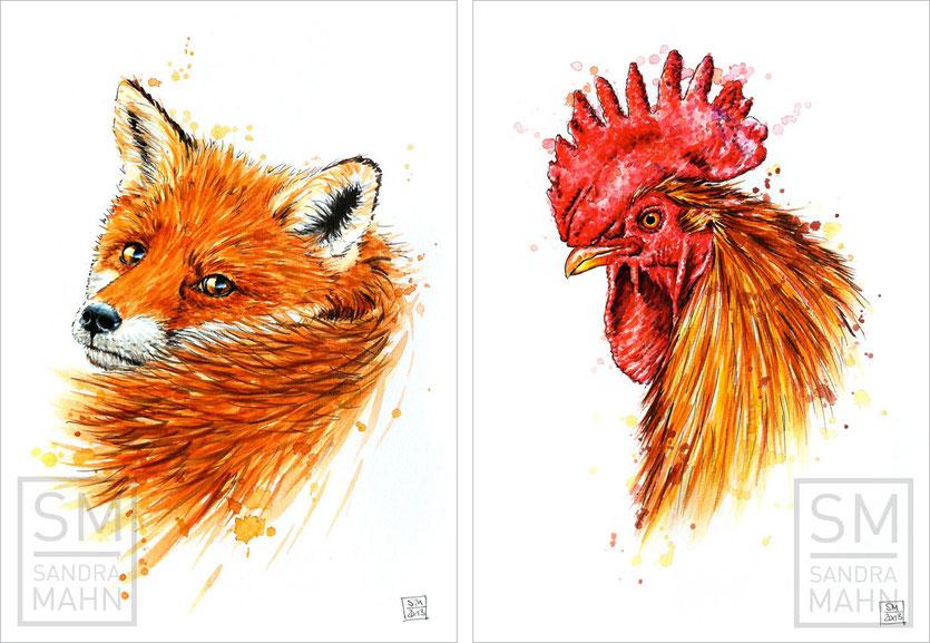 Rotfuchs - Hahn (verkauft) | red fox - rooster (sold)