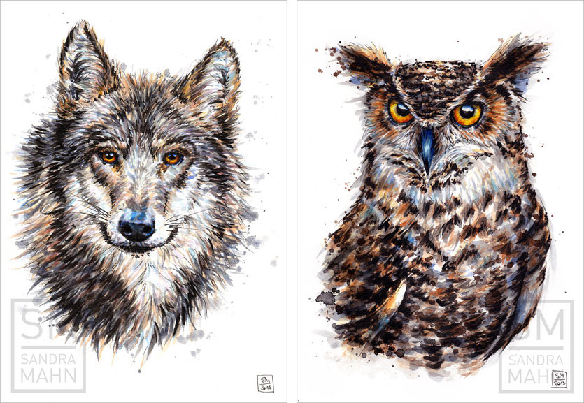 Wolf (verkauft) - Uhu (verkauft) | wolf (sold) - eagle-owl (sold)
