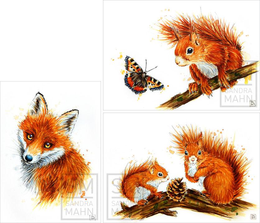 Fuchs (verkauft) - Eichhörnchen (verkauft) - 2 Eichhörnchen (verkauft) | red fox (sold) - red squirrel (sold) - 2 red squirrels (sold)
