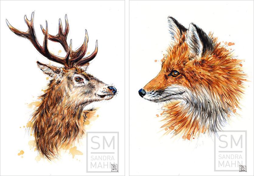 Hirsch (verkauft) - Fuchs (verkauft) | stag (sold) - fox (sold)