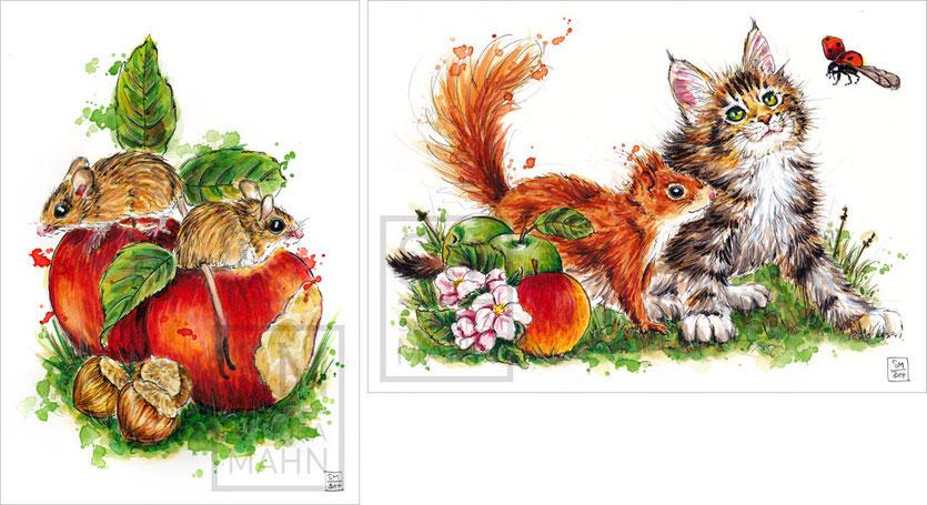 2 Mäuse (verkauft) - Eichhörnchen & Katze (verkauft) | 2 mouses (sold) - squirrel & cat (sold)