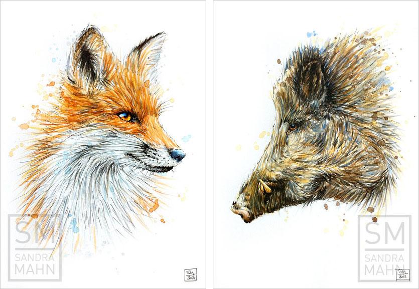 Fuchs (verkauft) - Wildschwein (verkauft) | red fox (sold) - wild boar (sold)