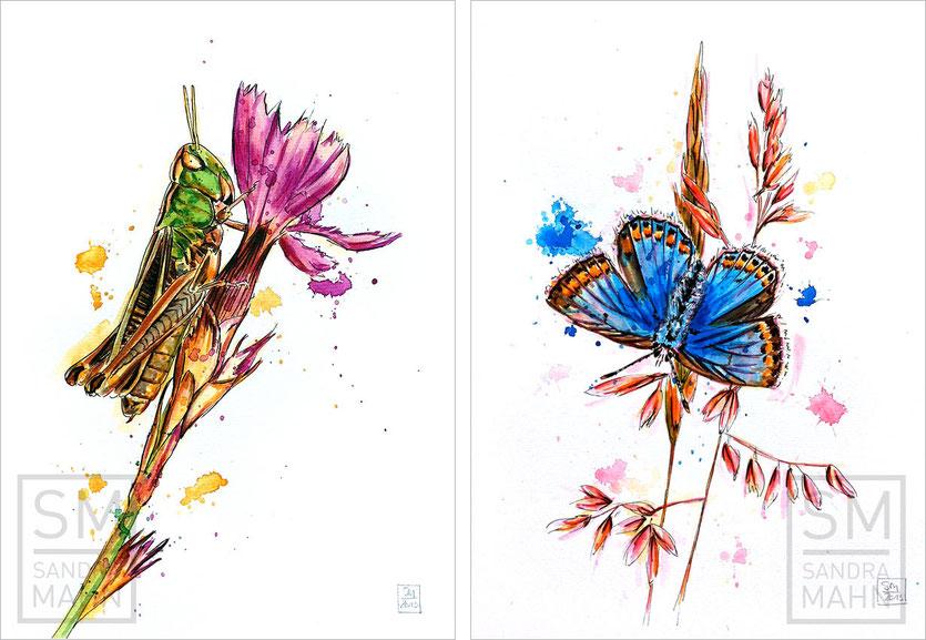 Grashüpfer (verkauft) - Schmetterling (verkauft) | grasshopper (sold) - butterfly (sold)