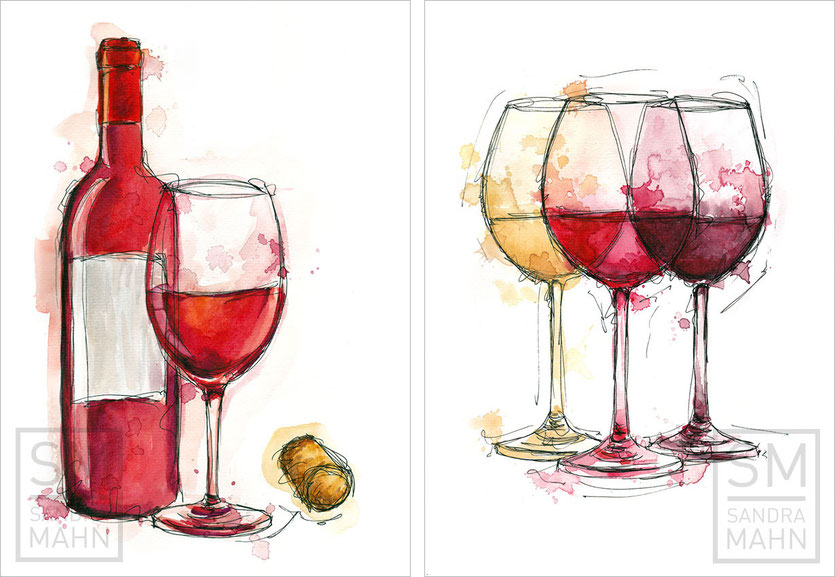 Illustrationen für ein Weingeschäft | illustrations for a wine shop