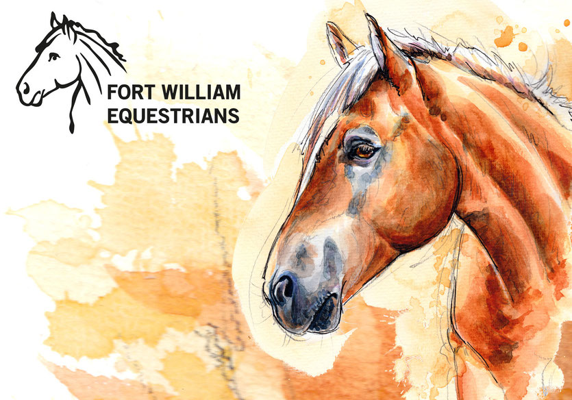 "Aquarell und Logo für ""Fort William Equestrians"" in Kanada 