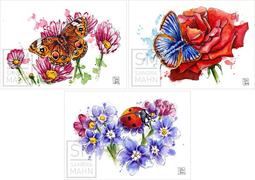 Schmetterling - Schmetterling - Marienkäfer (verkauft) | butterfly - butterfly - ladybug (sold)