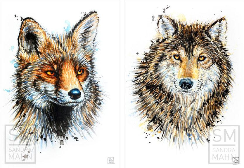 Fuchs (verkauft) - Wolf (verkauft) | fox (sold) - wolf (sold)