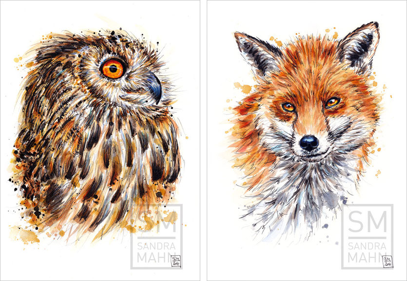 Uhu (verkauft) - Fuchs (sold) | eagle-owl (verkauft) - fox (sold)