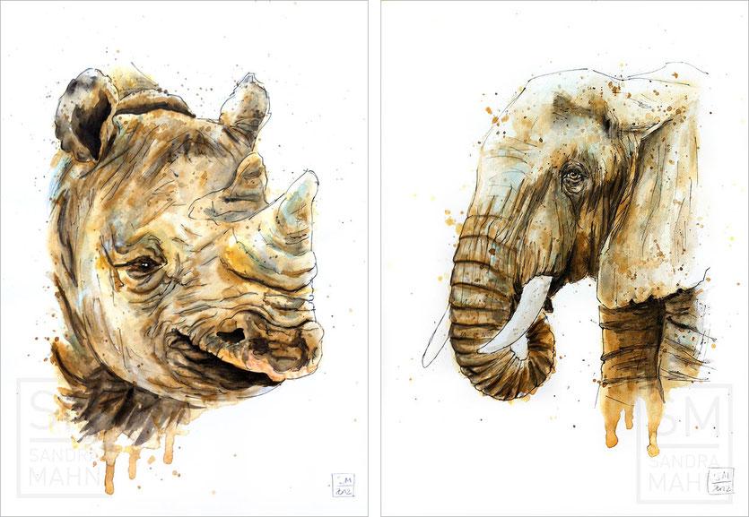 Nashorn (verkauft) - Elefant (verkauft) | rhinoceros (sold) - elephant (sold)