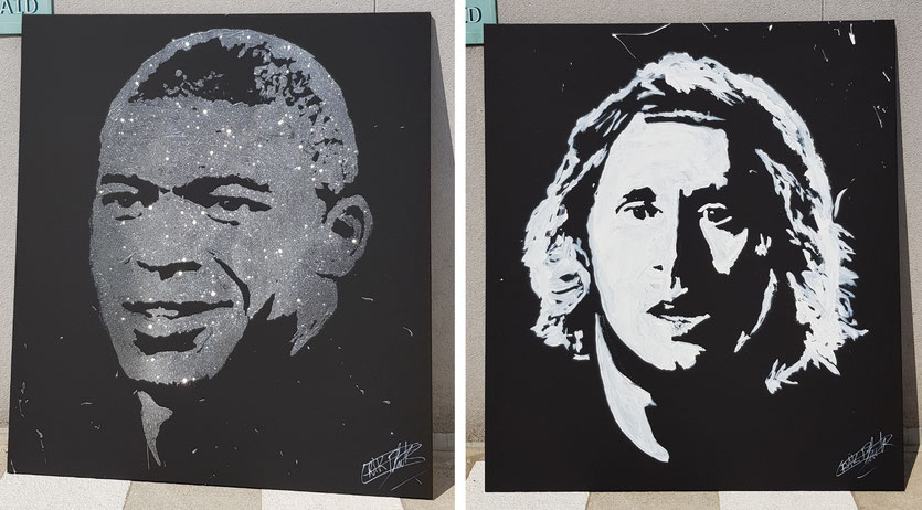 Live painting des portraits de Kilian MBappe et Luka Modric par le peintre Erik Black painting pour la finale coupe du monde 2018