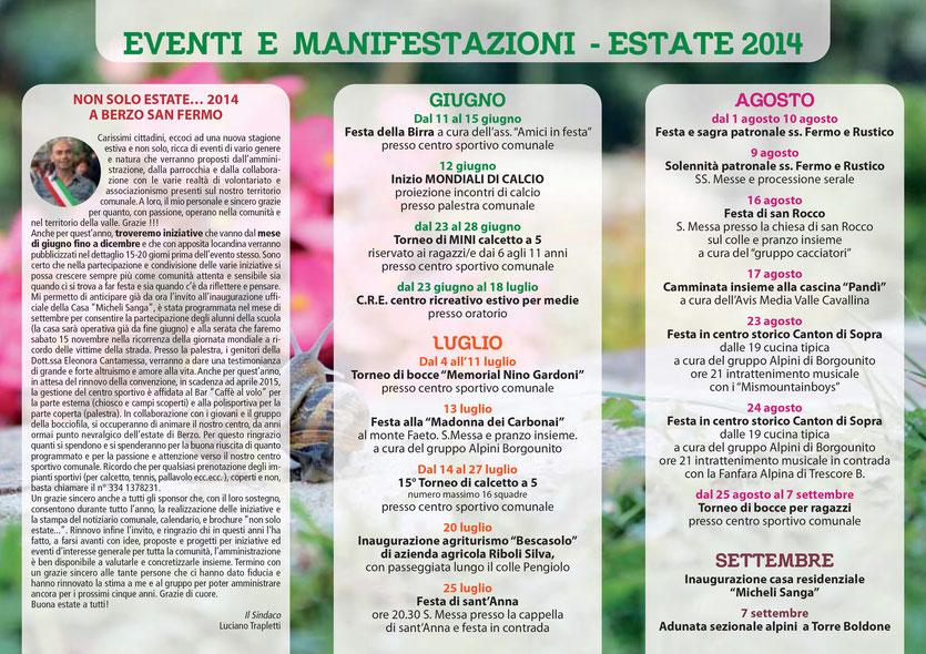 MANIFESTAZIONI ESTATE 2014 - PAGINA 1