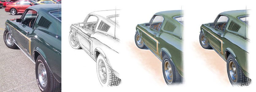 Mustang GT 1968 drawing evolution