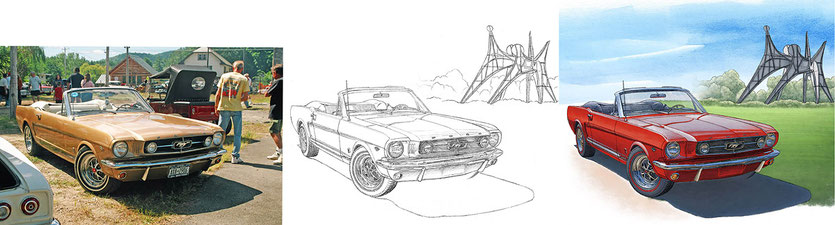 Mustang GT 1965 convertible drawing evolution