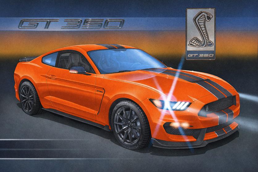 Une scène nocturne fut choisie pour illustrer la Shelby GT350
