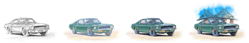 Mustang Bullitt 1968 drawing evolution