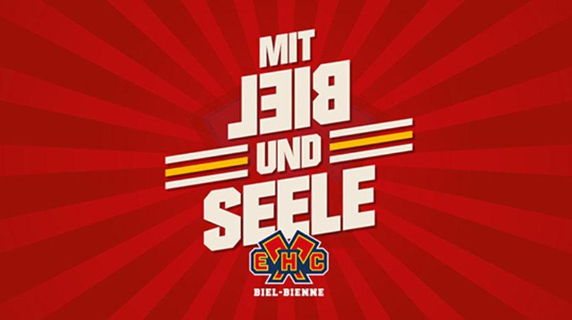 Fan EHC Biel, Eishockeyclub, Mit Leib und Seele, rot und gelb, Logo EHC Biel