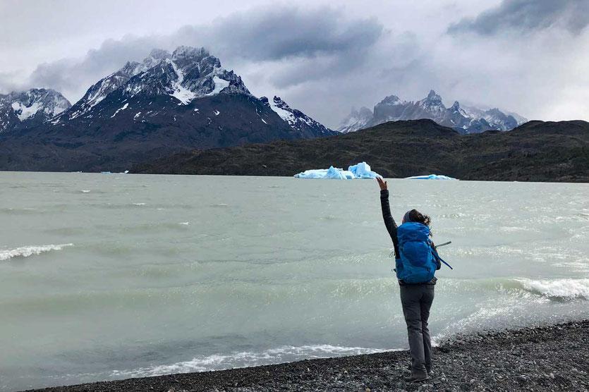 Winde peitscht über den Lago Grey