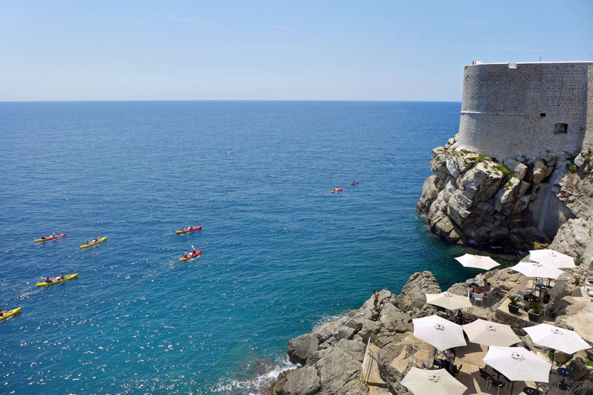 Dubrovnik Kayaking cliff restaurant Rundgang Stadtmauer Wall
