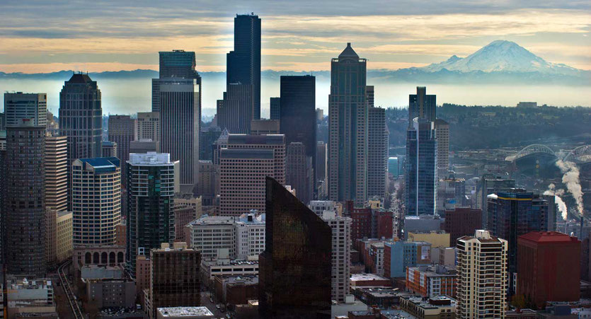 Mt. Rainier Blick von der Space Needle in Seattle