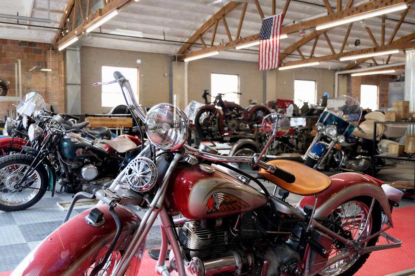 Vintage 'Indian motorciles Jerry Greer's Engineering in Deadwood