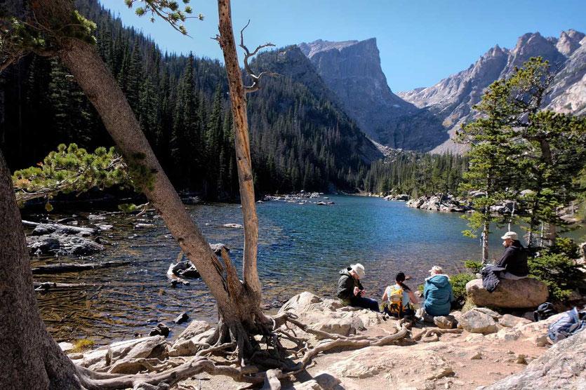 Hikers at Bear Lake Rocky mountains NP