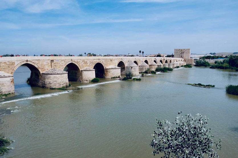 Cordoba Puente Romano am Fluss Guadalquivir und Museum im Torre de la Calahorra