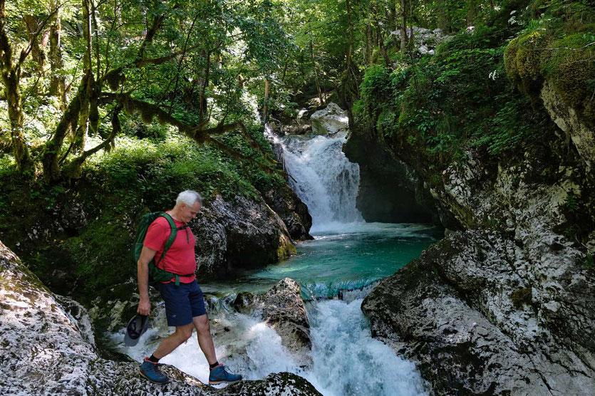 Lepena Wasserfall Soca Tal Slowenien