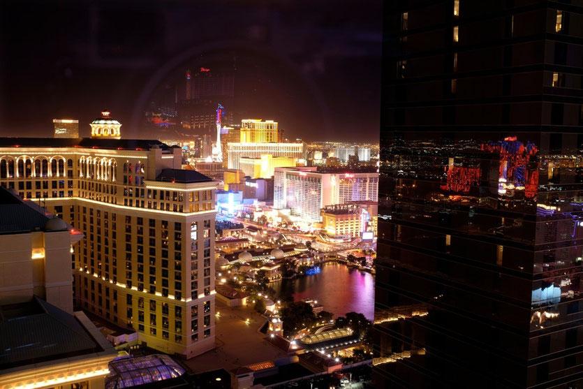 Blick vom Vdara Hotel auf Bellagio Lake, Las Vegas
