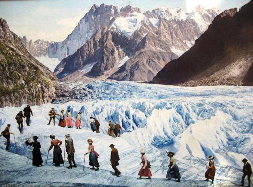 Frühe Touristen am Mer de Glace Gletscher bei Chamonix