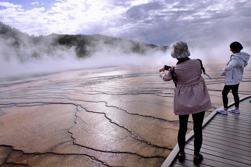 Grand Prismatic Spring Girls on Boardwalk