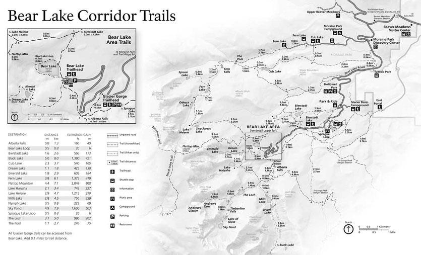 Rocky Mountains Park Trails – Wanderkarte mit Längenangaben (Klick Bild zum vergrößern)