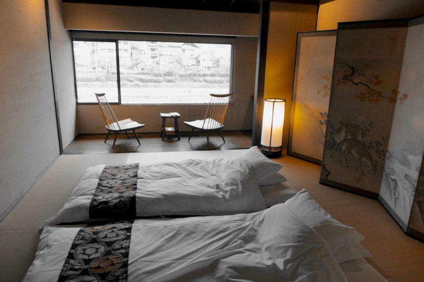 bed room Kyoto traditional Machiya house best location travel article review Iori Machiya