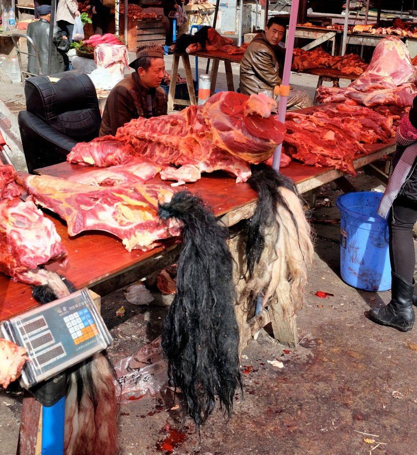 Yak meat market Kangding