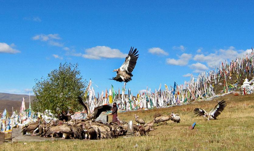Tibetische Himmelsbestattung bei Tagong, tibetan sky funeral Tagong
