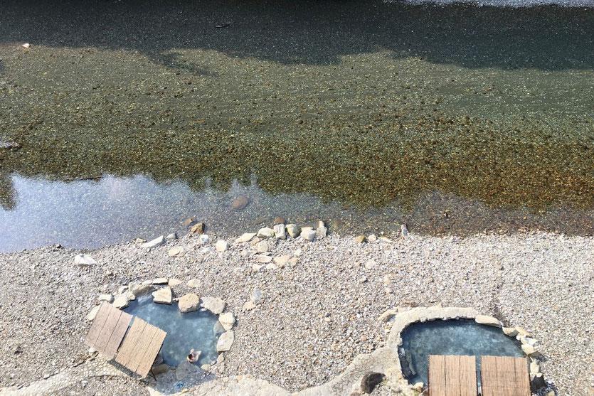 Hot Springs Kawayu Onsen Dorf Kumano Kodo Japan Flussbad