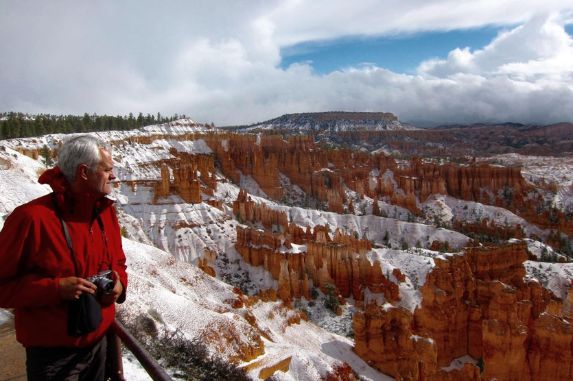 Schnee April im Bryce Canyon USA Nationalpark