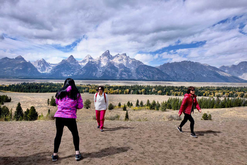 chinese visitors Glacier View Turnout Grand Teton