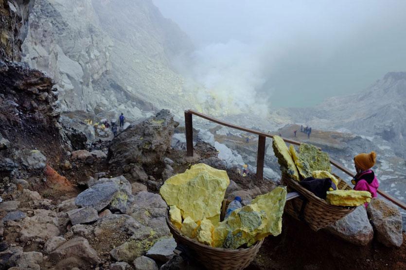 Wanderung Ijen Kratersee trail Ijen lake Java