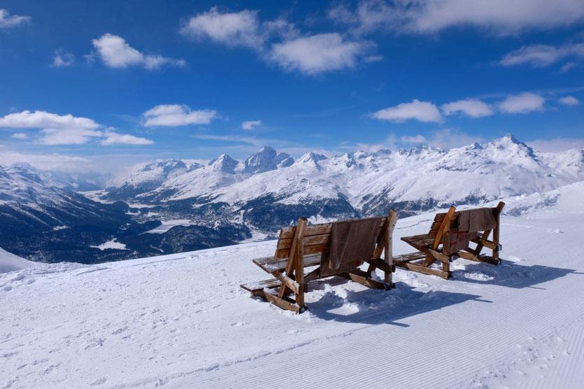 Muottas Muragl Aussichtsberg Winterwanderwege St. Moritz und Oberengadin