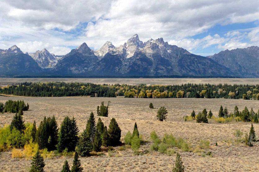 Grand Teton Mountain Range Nationalpark im Herbst
