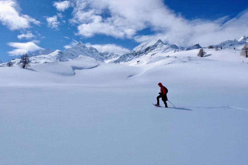 Schneeschuhwandern am Bernina Pass Diavolezza St. Moritz Engadin